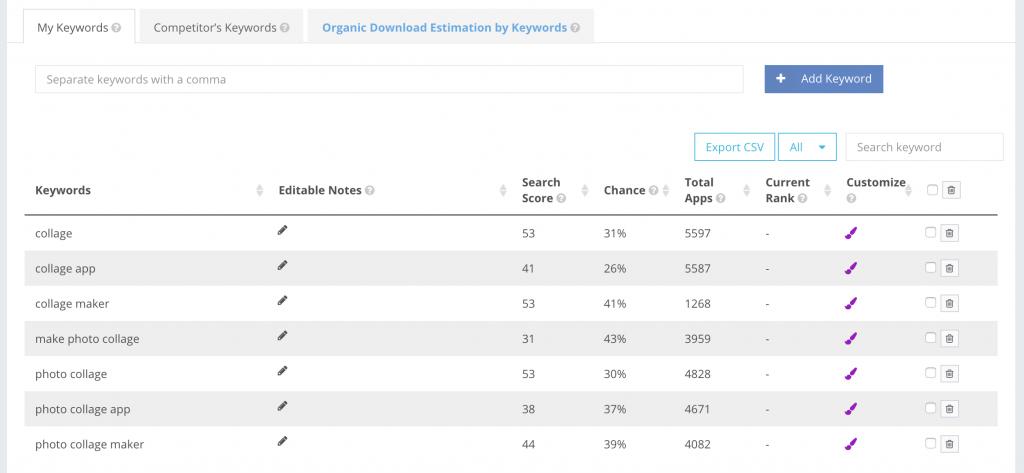 ASO keyword list