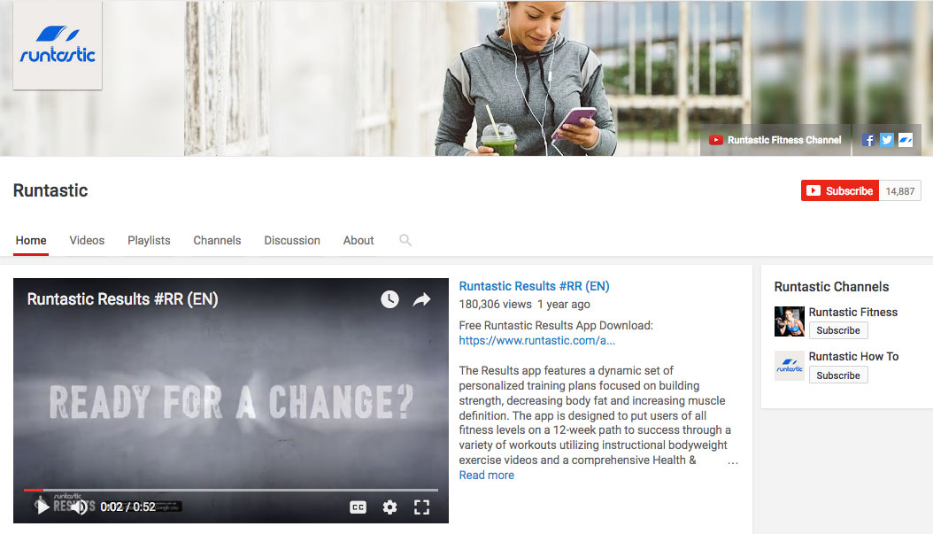 Runtastic YouTube channel