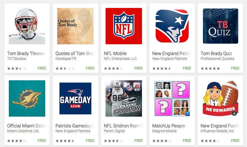 Google Play - Tom Brady apps