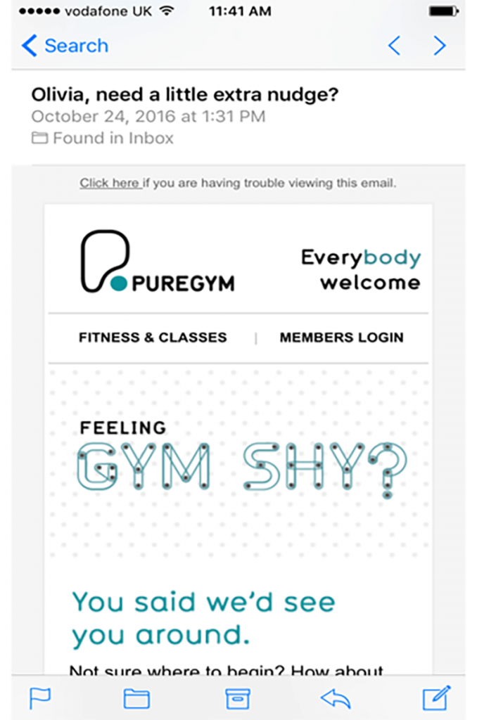 push notification for gym app