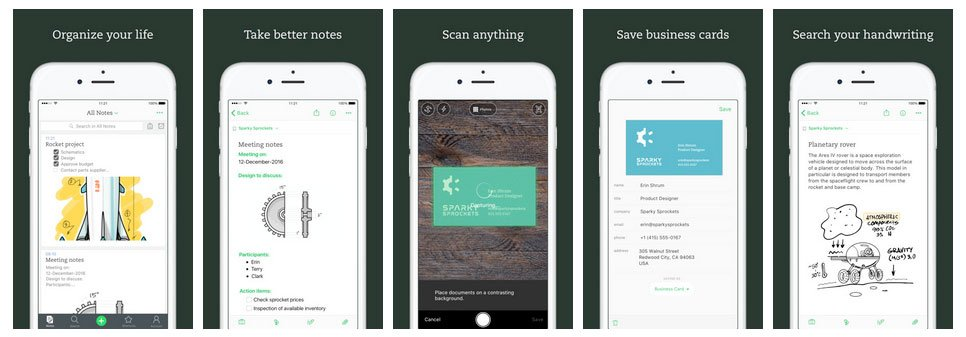 App screenshots example from Evernote