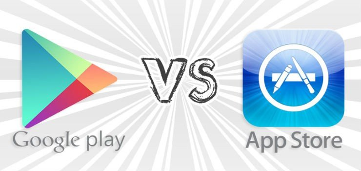 An image depicting the comparison of Google Play and App Store, which is central to app marketing.