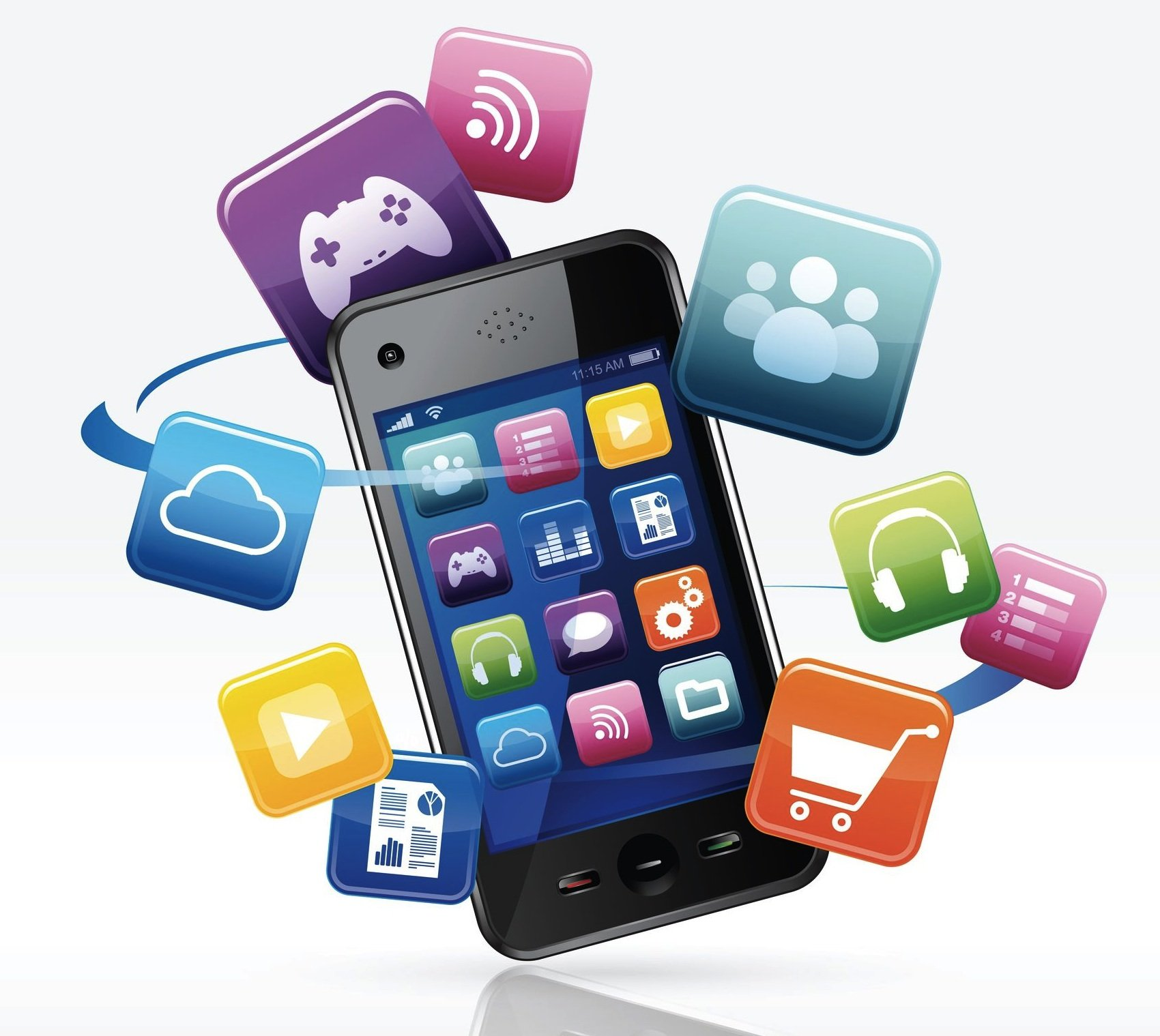 A mobile phone depicting the various forms of App Marketing.