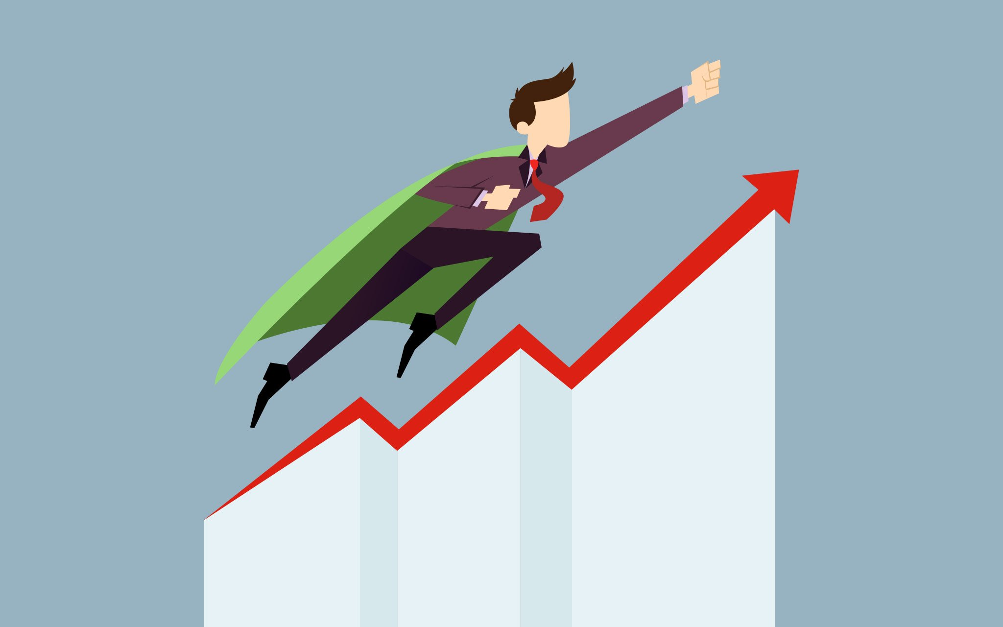 An image of a person soaring through charts with Performance Marketing, which is a way of app marketing.