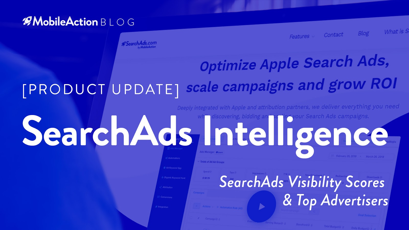 image featuring searchads intelligence product update of MobileAction
