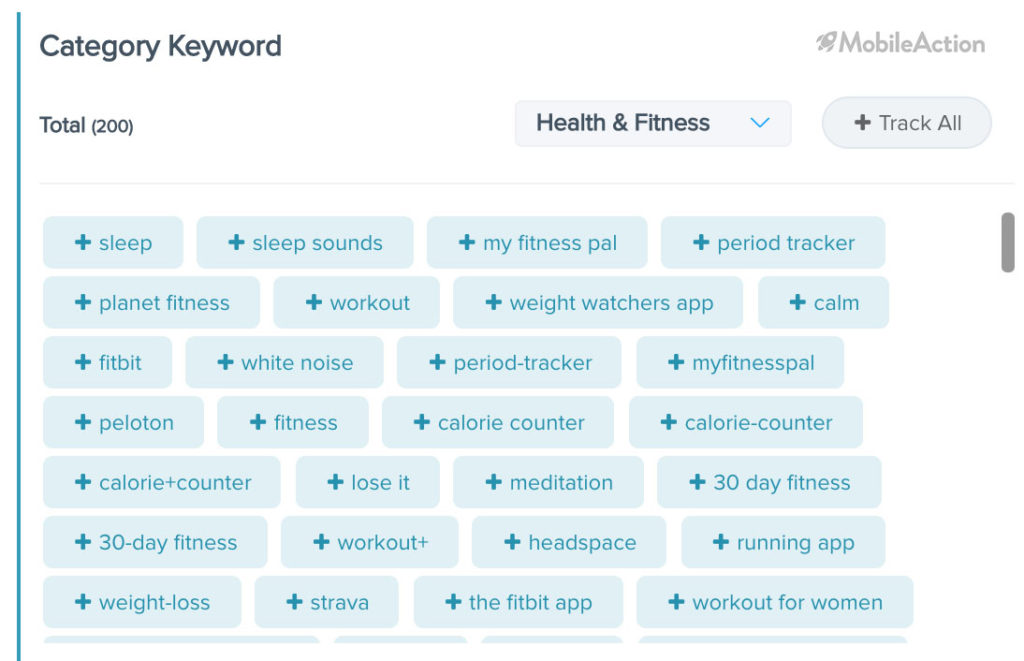 category keywords health and fitness